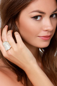 Con-Vexed Up Gold Rhinestone Ring at Lulus.com!