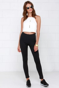 On Your Mark, Get Set Black Cropped Leggings at Lulus.com!