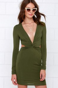 Rise of Dawn Jersey Olive Green Long Sleeve Dress at Lulus.com!