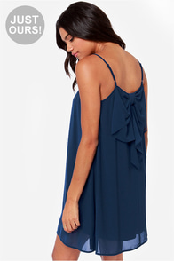 LULUS Exclusive Bow Fo Show Navy Blue Shift Dress at Lulus.com!