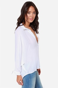 Olive & Oak Blouse Party Long Sleeve White Top at Lulus.com!