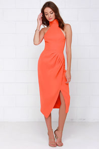 Cameo Kiss Land Orange Midi Dress at Lulus.com!