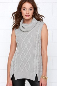 Rise of Dawn Hold Me Tight Grey Sleeveless Sweater Top at Lulus.com!