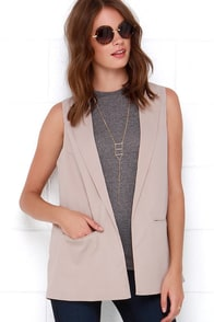 As You Please Taupe Vest at Lulus.com!