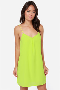 Play the Angles Chartreuse Dress at Lulus.com!