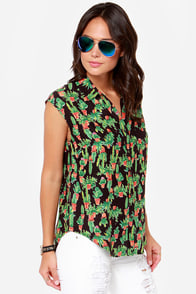 Obey Peyote Gardens Black Cactus Print Top at Lulus.com!