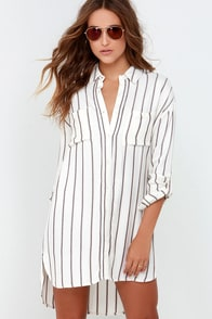 Gentle Fawn Voyage Cream Striped Shirt Dress at Lulus.com!