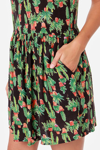 Obey Peyote Gardens Black Cactus Print Babydoll Dress at Lulus.com!