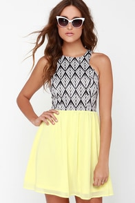 Prints and the Popper Yellow Print Dress at Lulus.com!