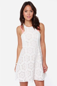 Save the Day Neon Coral and Ivory Lace Dress at Lulus.com!
