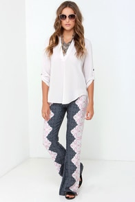 O'Neill Zena Navy Blue Print Pants at Lulus.com!