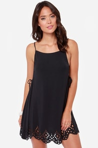 Volcom Bittersweet Laser Cut Black Dress at Lulus.com!