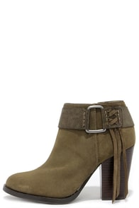 Kensie Masola Olive Suede Leather Ankle Boots at Lulus.com!
