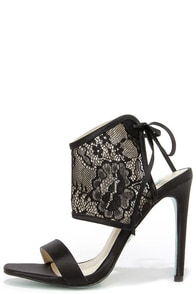 Blue by Betsey Johnson Sloan Black Lace High Heels at Lulus.com!