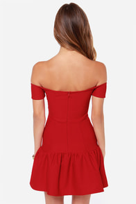 LULUS Exclusive Work Your Magic Off-the-Shoulder Red Dress at Lulus.com!