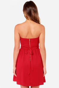 LULUS Exclusive Heart of the Matter Red Strapless Dress at Lulus.com!