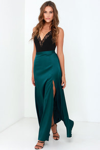 Rise of Dawn Split Second Dark Teal Maxi Skirt at Lulus.com!