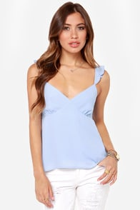 Strut Your Ruffle Periwinkle Tank Top at Lulus.com!