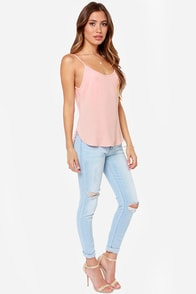 How Dare Chic Blush Tank Top at Lulus.com!