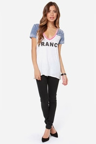 Chaser France Blue and White Burnout Tee at Lulus.com!