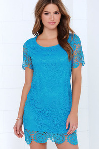 Feelin' Fine Blue Lace Shift Dress at Lulus.com!