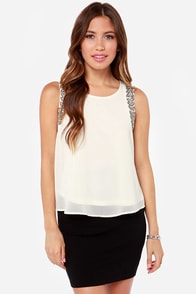 LULUS Exclusive Bring the Bling Beaded Cream Top at Lulus.com!