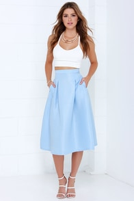 Tiger Mist Bonnie Light Blue Midi Skirt at Lulus.com!