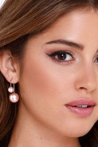 Elegant Help It Rose Gold Pearl Peekaboo Earrings at Lulus.com!