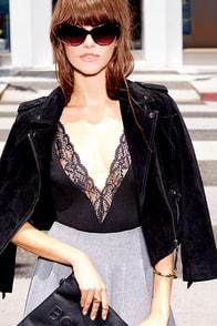 DJ Request Black Lace Bodysuit at Lulus.com!