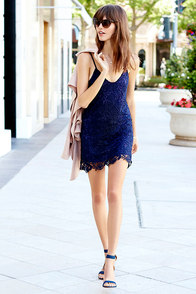 Castle in the Sky Navy Blue Lace Dress at Lulus.com!