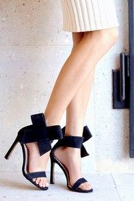 Betsey Johnson Friskyy Black Suede Leather High Heel Sandals at Lulus.com!