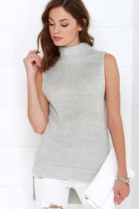 Gemma Grey Sleeveless Knit Sweater at Lulus.com!