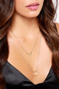 Bringing Hex-y Back Silver and Gold Layered Necklace at Lulus.com!