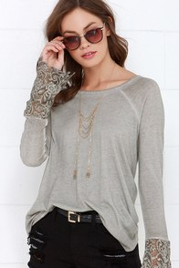 Black Swan Drizzle Washed Grey Lace Top at Lulus.com!