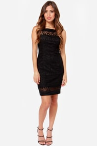 Famous Lace Words Black Lace Dress at Lulus.com!
