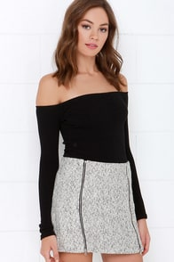 Uptown Upgrade Black and Ivory Mini Skirt at Lulus.com!