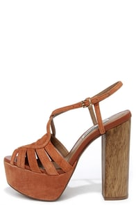 Steve Madden Gingur Chestnut Brown Suede Leather Platform Heels at Lulus.com!