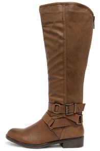 Madden Girl Corporel Cognac Brown Knee-High Boots at Lulus.com!
