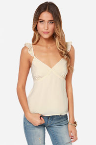 Strut Your Ruffle Cream Tank Top at Lulus.com!