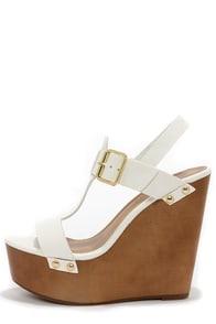 Emily 32 White Platform Wedge Sandals