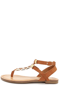 Madden Girl Faaye Cognac and Gold Thong Sandals at Lulus.com!
