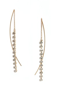 Smooth Stride Gold and Rhinestone Threader Earrings at Lulus.com!