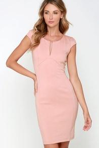 Top Notch Blush Pink Midi Dress at Lulus.com!
