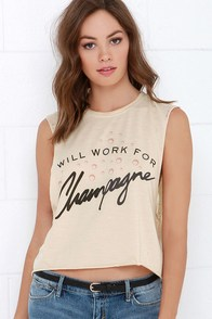 Laundry Room Bubble Bum Beige Cropped Muscle Tee at Lulus.com!