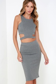 Cleverly Devised Grey Bodycon Two-Piece Dress at Lulus.com!