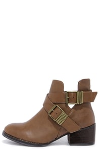 Bronco 11 Tan Cutout Ankle Boots at Lulus.com!