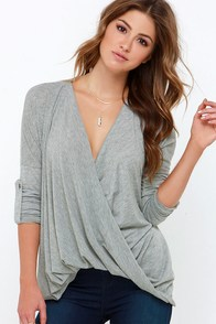 This Is Twist Heather Grey Long Sleeve Top at Lulus.com!