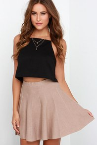 Pleat Talk Beige Skater Skirt at Lulus.com!