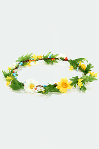 Crown Yonder White and Yellow Flower Crown at Lulus.com!