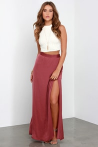 Way to Sway Wine Red Maxi Skirt at Lulus.com!